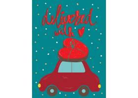 小轎車運送愛心浪漫情人節主題標簽裝飾背景