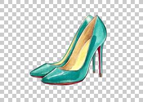 水彩背景,高跟鞋,基本泵,鞋类,绿色,水,克里斯蒂安・鲁布托,法庭