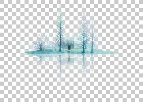 树木水彩画,线路,角度,树,对称性,三角形,湖,数据,绘图板,绘图,水
