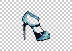 水彩卡通,高跟鞋,基本泵,户外鞋,水,电蓝,水彩画,脚跟,时尚,鞋类,