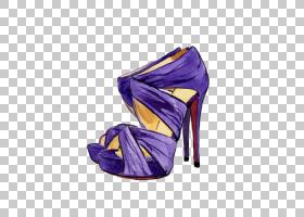 水彩卡通,高跟鞋,紫罗兰,鞋类,户外鞋,电蓝,紫色,凉鞋,克里斯蒂安