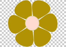 粉红色花卡通,线路,圆,黄色,花瓣,对称性,叶,野花,蓝色,普通雏菊,