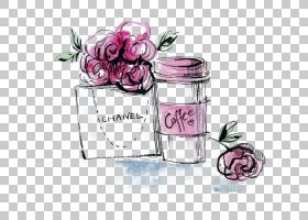 粉红色花卡通,饮具,洋红色,插花,玻璃瓶,化妆品,梅森罐,香水,花瓣