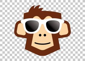 大猩猩卡通,口吻,太阳镜,微笑,鼻子,眼镜,年假,徽标,自由职业者,