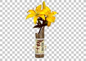 百合花卡通,花盆,植物,黄色,贴纸,花园,花卉,粉红色的花,花园里,