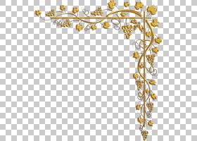 花卉设计金,花卉设计,线路,细枝,分支,花,黄色,树,身体首饰,面积,