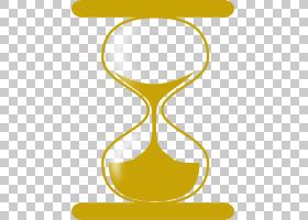 卡通钟,饮具,线路,材质,符号,文本,玻璃,小时,沙子,黄色,时间,时
