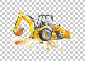 水彩背景,车辆,机器,黄色,施工设备,起重机,卡车,重型设备,绘画,