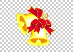 圣诞铃铛卡通,线路,黄色,符号,花,卡通,铃声,圣诞节,