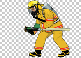 消防员卡通,线路,建筑工人,个人防护装备,黄色,职业,头盔,火,博客