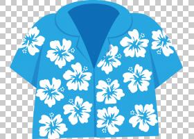 夏威夷花,电蓝,天蓝色,钴蓝,绿松石,水,T恤,套筒,花,蓝色,草裙舞,