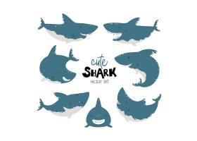 可爱的卡通鲨鱼插画设计