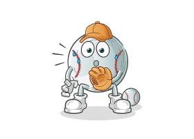 可爱的卡通棒球形象人物插画设计