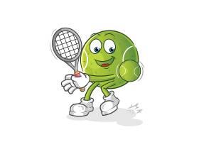 可爱的卡通网球形象人物插画设计