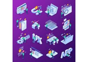 互联网信息技术主题等距插画设计