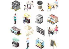咖啡厅咖啡馆主题等距插画设计