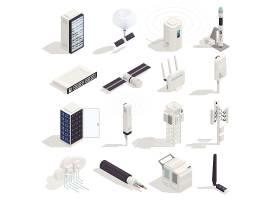 5G信息与信号传输塔主题等距插画设计