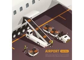 航空运输主题等距插画设计