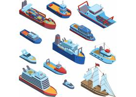 海上运输交通工具主题等距插画设计