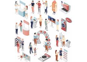 促销活动场景模拟主题等距插画设计