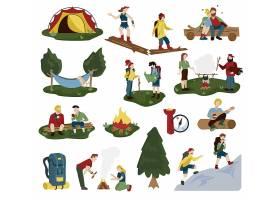 登山露营主题等距插画设计