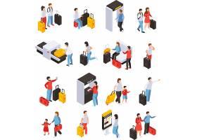 人物旅行安检行李箱主题等距插画设计