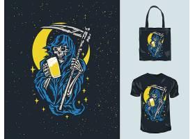 死神形象主题时尚个性T恤印花图案设计