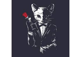 猫咪绅士主题时尚个性T恤印花图案设计