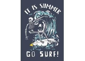 冲浪骷髅主题时尚个性T恤印花图案设计