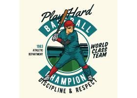 棒球运动主题时尚个性T恤印花图案设计