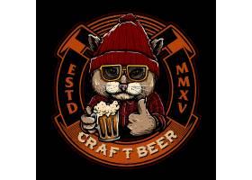 喝酒的猫咪主题时尚个性T恤印花图案设计