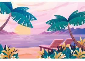 卡通海边风景