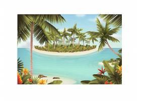 椰树沙滩海岛主题景观装饰背景
