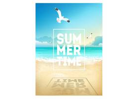 夏日时光沙滩主题装饰背景