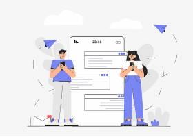 清新简洁互联网社交人物生活方式主题插画设计