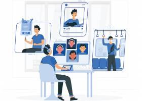 互联网通讯与社交生活方式主题人物插画设计
