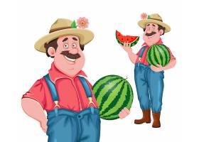 捧着西瓜的农夫农场主主题人物装饰插画设计
