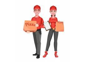 送披萨的卡通男女