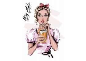 手绘马克杯风格时尚女性插画设计