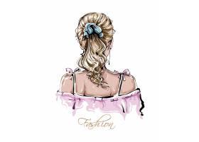 手绘马克笔风格时尚女性插画设计