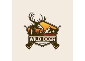 猎杀与鹿主题LOGO徽章图标设计