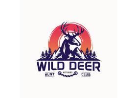 鹿与山脉主题LOGO徽章图标设计
