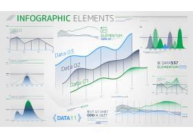 灰色背景丰富多彩的细节信息图表元素的集合