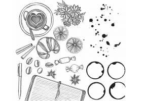 手绘食物食材厨房用品素描速写插画