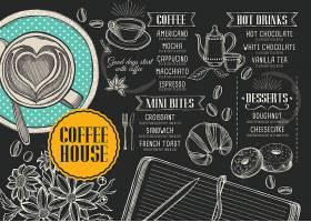 手绘食材食物黑板风菜单菜牌宣传单外卖折页模板