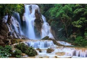 地球,瀑布,瀑布,匡,Si,瀑布,老挝国,热带的,岩石,树,森林,自然,壁