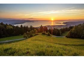地球,日落,风景,风景优美的,航道,湖,河,森林,天空,云,壁纸,