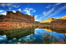 地球,反射,风景,山,风景优美的,湖,天空,云,壁纸,(1)