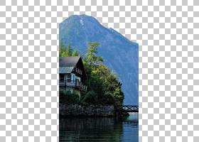 卡通自然背景,河流,房地产,屋顶,树,反射,湖区,小屋,水,山地站,峡图片