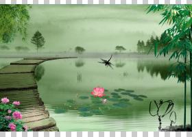 卡通自然背景,草,水道,鱼塘,树,生态系统,植物群,银行,水,自然,植图片